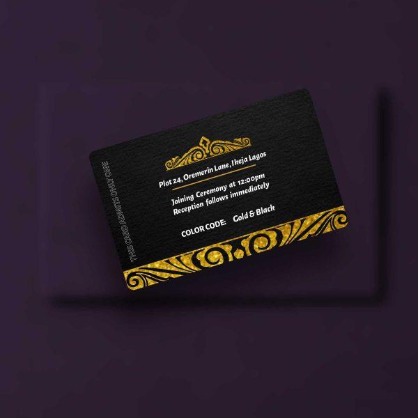 Wedding Access Cards Back