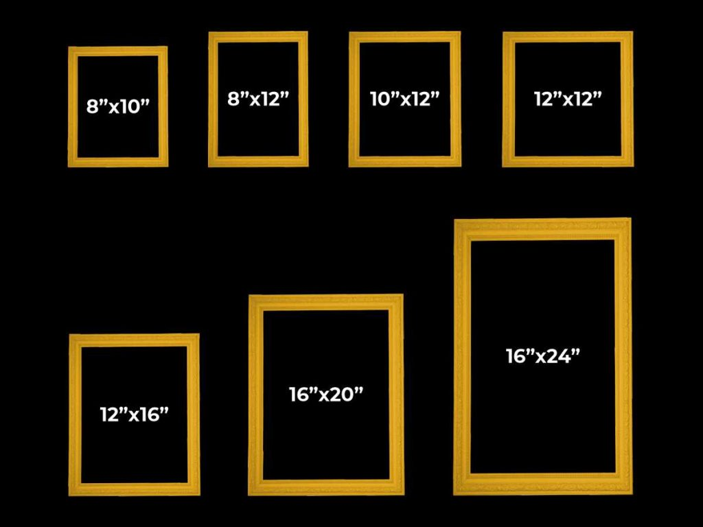 standard picture frame size chart